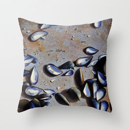 Moules on the rock Throw Pillow