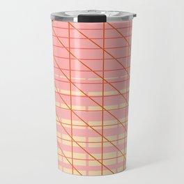 grid check layer_pink, biege Travel Mug