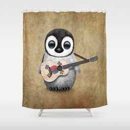 Baby Penguin Playing South Korean Flag Guitar Shower Curtain