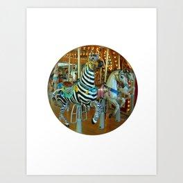 Zebra Go Round Art Print