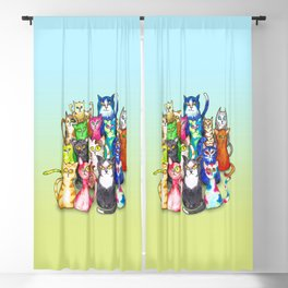 Gang of colorful cats Blackout Curtain