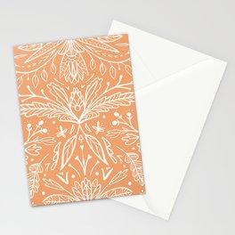 Modern folk art ornaments white on orange Stationery Cards