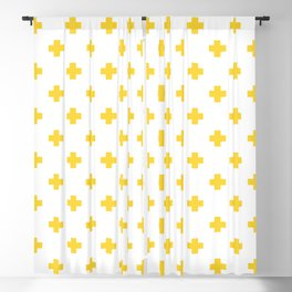Yellow Swiss Cross Pattern Blackout Curtain