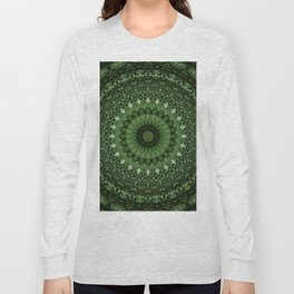 Mandala in olive green tones Long Sleeve T-shirt