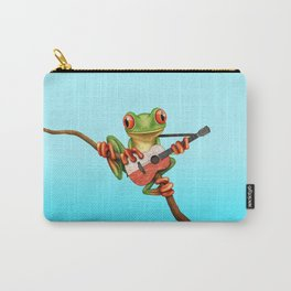 Tree Frog Playing Acoustic Guitar with Flag of Poland Carry-All Pouch