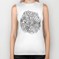 doodle Biker Tanks featuring Doodle  by Vibe-Art