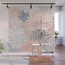 Flowers Abstract Print, Coral, Peach, Gray Wall Mural
