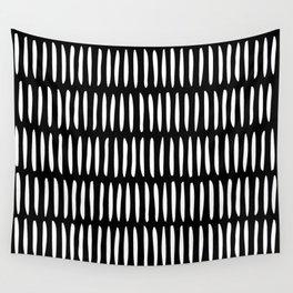 Classy Handpainted Stripes Pattern Black, Scandinavian Design Wall Tapestry