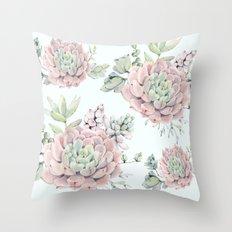 Pink Echeveria #society6 #buyart Throw Pillow