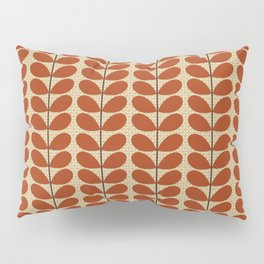Mid Century Danish Leaves, Rust Brown and Beige Pillow Sham
