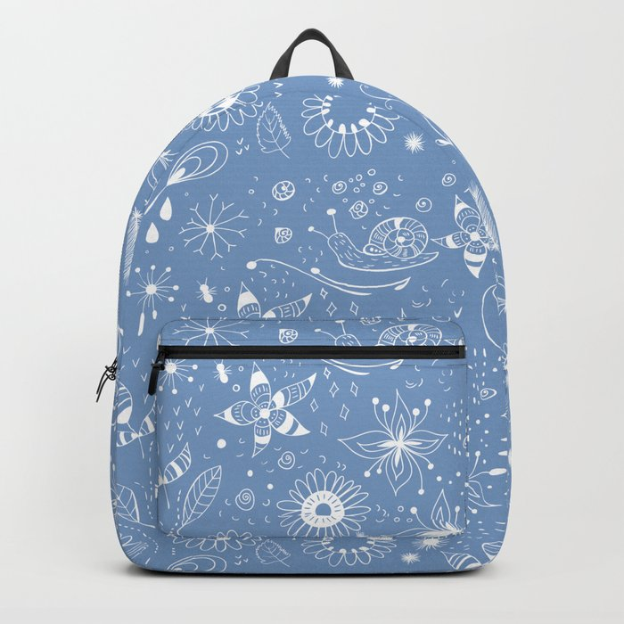 White doodle flowers pattern on blue Backpack