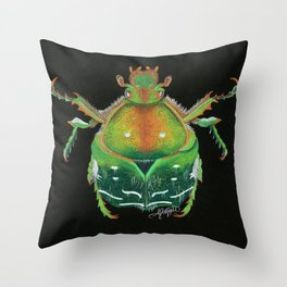 Rose Chafer Beetle Illustration Throw Pillow