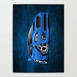 Import Sports Sedan Cartoon Illustration Poster
