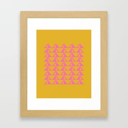 Geometric Triangle Pattern in Sunny Yellow and Neon Pink Framed Art Print