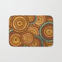 Circular Ethnic  pattern pastel gold and brown, teal Bath Mat