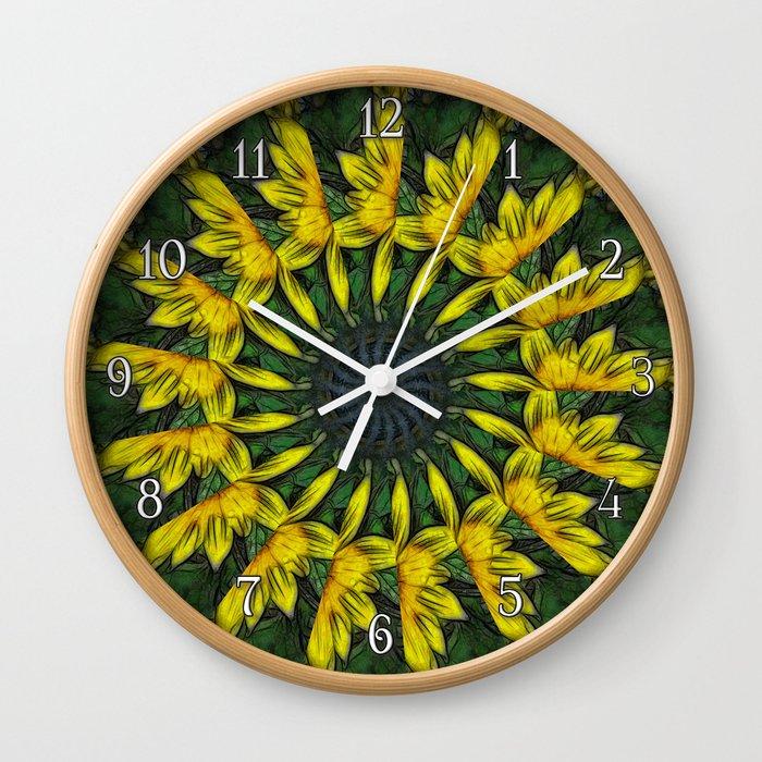Large Yellow Wildflower Kaleidoscope Art 12 Wall Clock