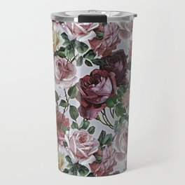 Vintage & Shabby chic - retro floral roses pattern Travel Mug