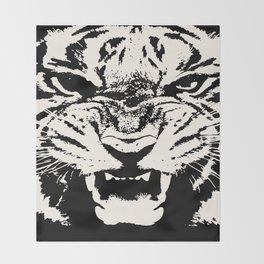 White Tiger Vector Throw Blanket