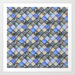 Faux Patchwork Quilting - Blues Art Print