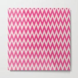 Neon Pink Chevron Metal Print