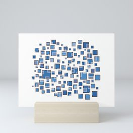 Blue Abstract Rectangles 409 Mini Art Print