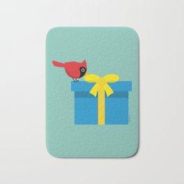 Cute Red Cardinal Opening Blue Gift Bath Mat