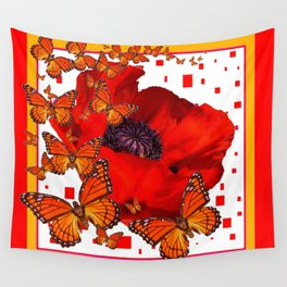Decorative Red-Gold Monarch Butterflies Red Popppy Wall Tapestry