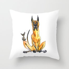 Great Dane and Chihuahua Throw Pillow