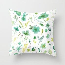 Verdant Green Flowers Throw Pillow