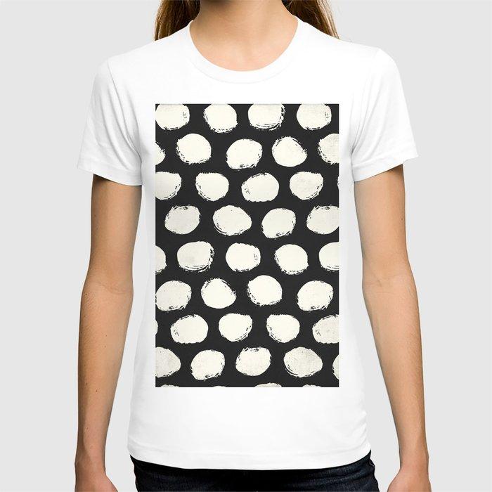 Trendy Cream Polka Dots on Black T-shirt