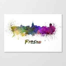Fresno skyline in watercolor Canvas Print