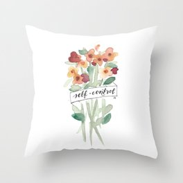 self-control // fruit of the spirit flower watercolor Throw Pillow