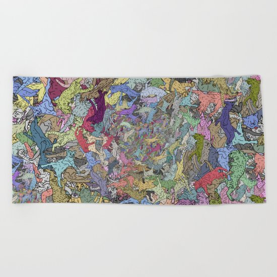 Colorful Flying Cats Beach Towel