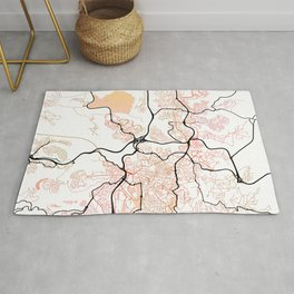 Jerusalem Israel Street Map Color Rug