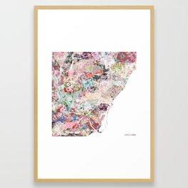 Barcelona map Framed Art Print