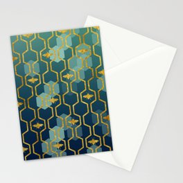 golden gometric bee pattern Stationery Cards
