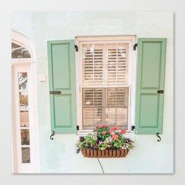 Mint Window in Charleston Canvas Print
