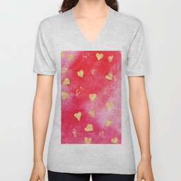 Red And Gold Watercolor Hearts Textures And Patterns Unisex V-Neck