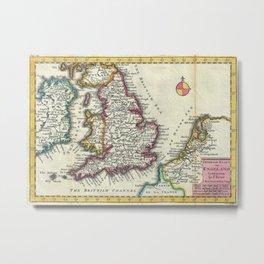 Vintage Map of England (1747) Metal Print