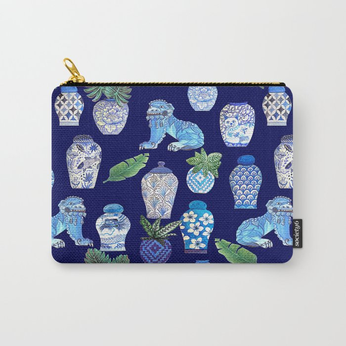 Chinese Ginger Jars and Foo Dogs, Chinoiserie, Hampton's Style Carry-All Pouch