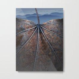 Autumn leaf with Smokey Mountain Vista Metal Print