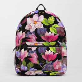 Assorted Scattered Watercolor Flowers Pinks and Blues Backpack