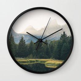 Morning at the lake Wall Clock