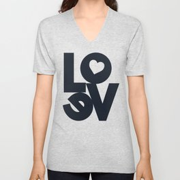 Love, tyopgraphy illustration, gift for her, people in love, be my Valentine, Romantic lettering Unisex V-Neck