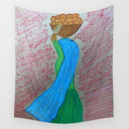 Indian Lady carrying Oranges Wall Tapestry