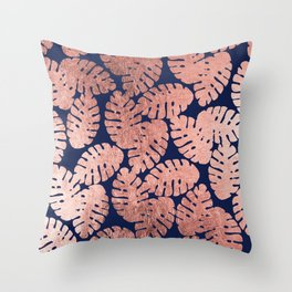 Elegant navy blue faux rose gold tropical leaves Throw Pillow