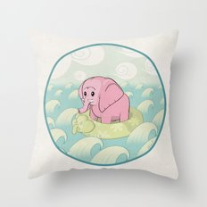 Elephant Across the Sea Throw Pillow