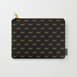 Golden Dragonfly Repeat Gold Metallic Foil on Black Carry-All Pouch