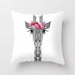 FLOWER GIRL GIRAFFE Throw Pillow