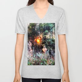 Sunset Forest : Where The Fairies Dwell Unisex V-Neck
